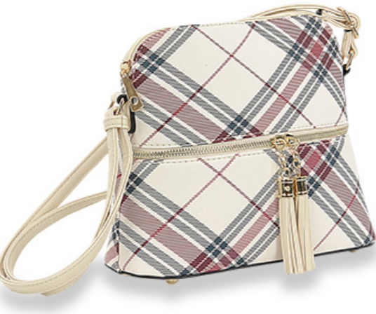 Plaid Print Crossbody Ivory