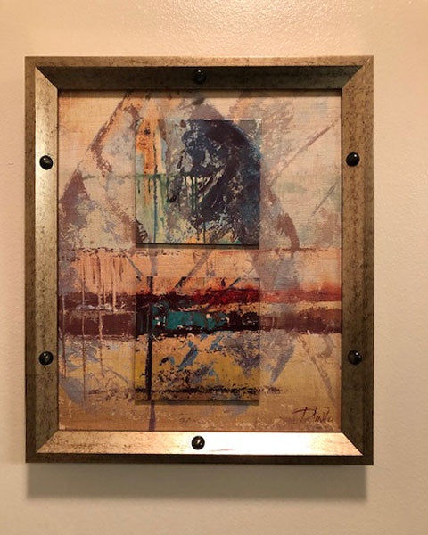 2D Abstract Art in Gold Frame