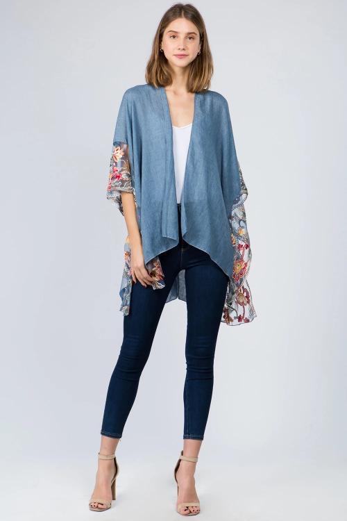 Kimono with Embroidered Edge Accent Blue