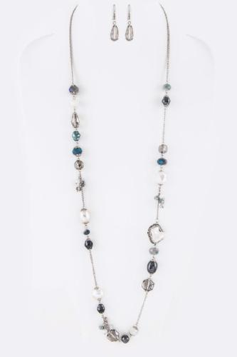 Crystal/Pearl Mix Necklace Set Grey