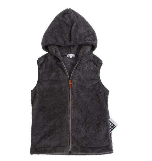 Hooded Sherpa Vest Charcoal