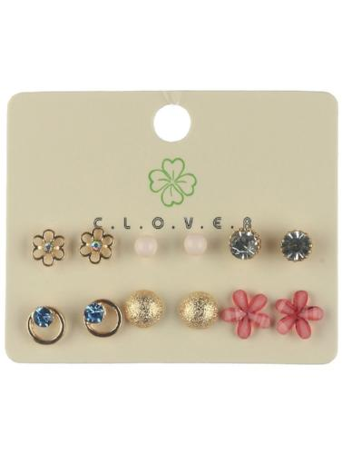 Stud Earring Set - Multiple Styles Gold/Pink