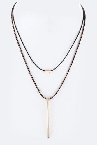 Pendant Layer Necklace Black/Gold