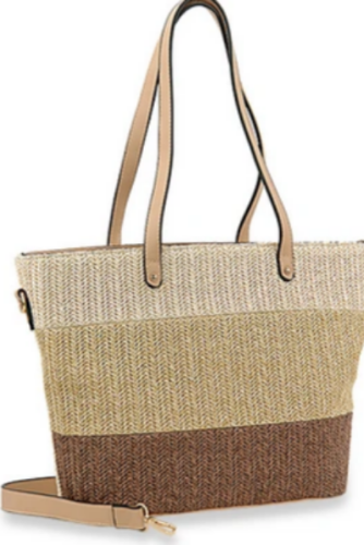 Striped Straw Tote Handbag Beige