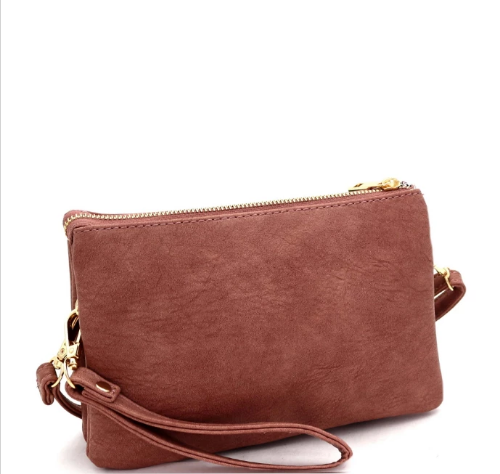 Versatile 5-Compartment Wristlet/Crossbody Mauve