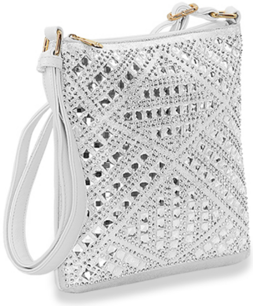 Rhinestone Design Crossbody White