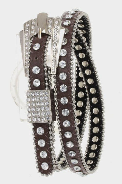 Crystal Buckle Skinny Belt Brown