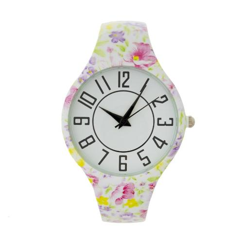 Large Face Floral Cuff Watch White