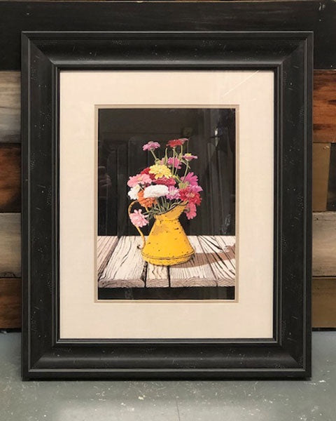 Framed Yellow Watering Can with Flowers