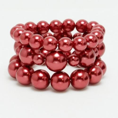 Pearl Stretch Bracelet 3pc Set Red