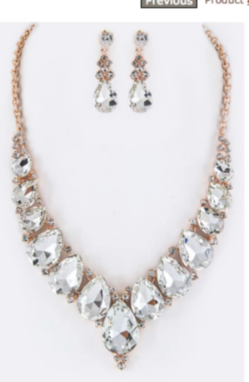 Teardrop Shape Crystals Statement Necklace Set