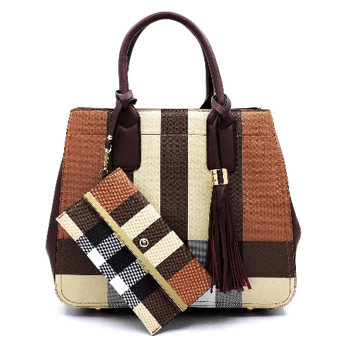Plaid/Check 2-in-1 Satchel Burgundy