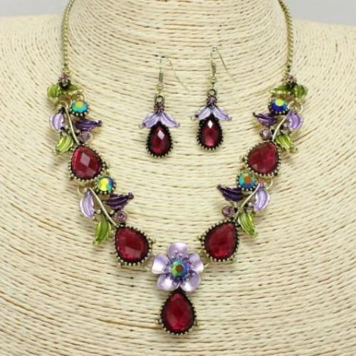 Floral Necklace Set Antique Gold/Purple