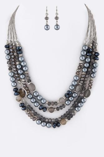 Mix Stone Beads Layer Necklace Set Grey