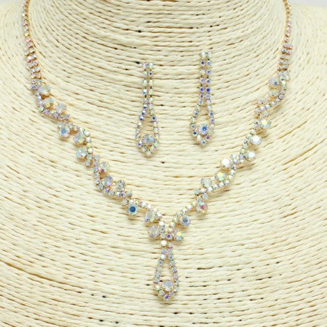 Stunning Special Occasion Rhinestone Necklace Set Gold/AB