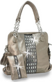 Gem Accented Tall Handbag Pewter