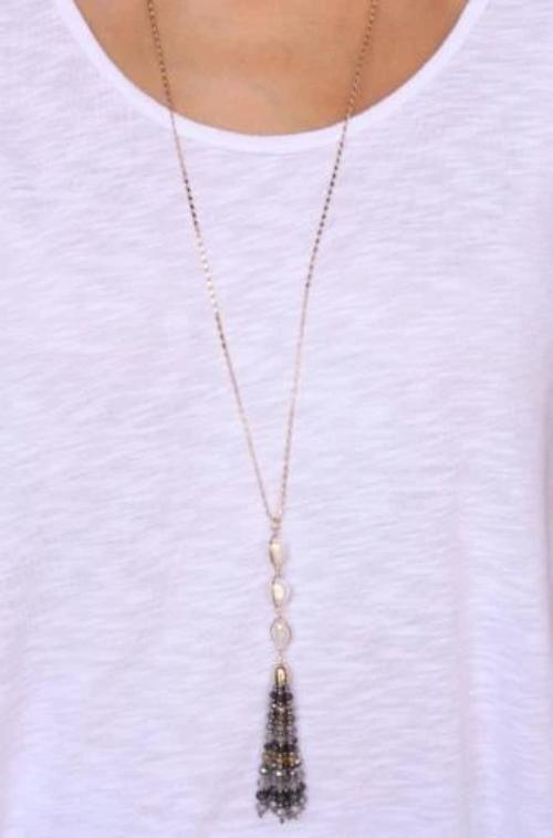 Triple Pearl And Seed Bead Tassel Y Necklace in Gray