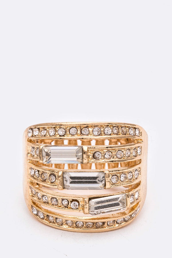 Crystal Baguette Stretch Cocktail Ring Gold/Clear