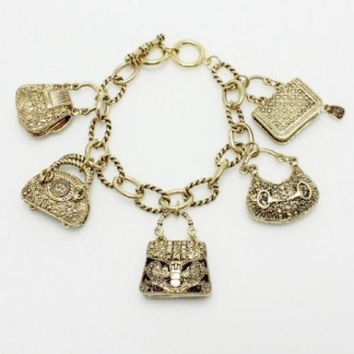 Purse Charm Bracelet Antique Gold