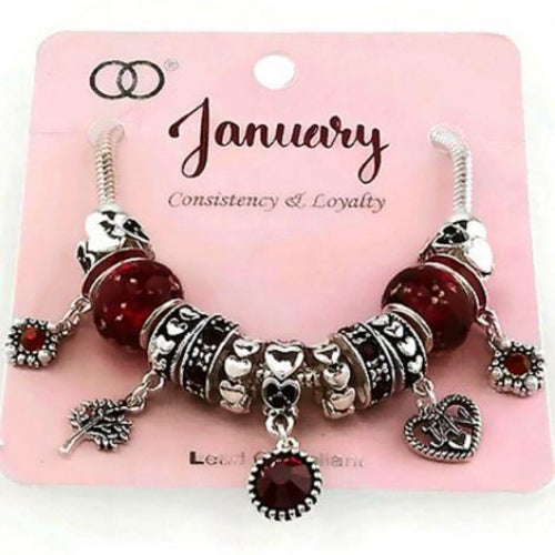 Multi Bead Birthstone Bracelet January