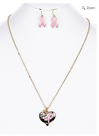 Breast Cancer Awareness Ribbon Necklace & Earring Set