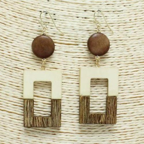 Square Wooden Earrings Natural
