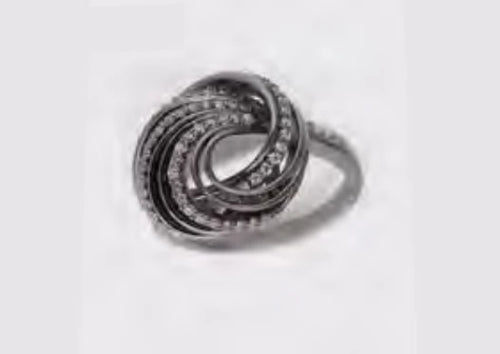 Black & White CZ Spiral Ring
