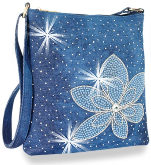 Rhinestone Flower Denim Crossbody Blue