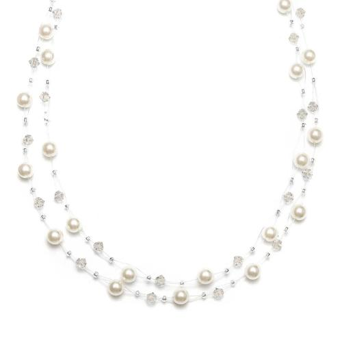 Pearl & Crystal Bridal or Bridesmaids Illusion Necklace Honey Pearls