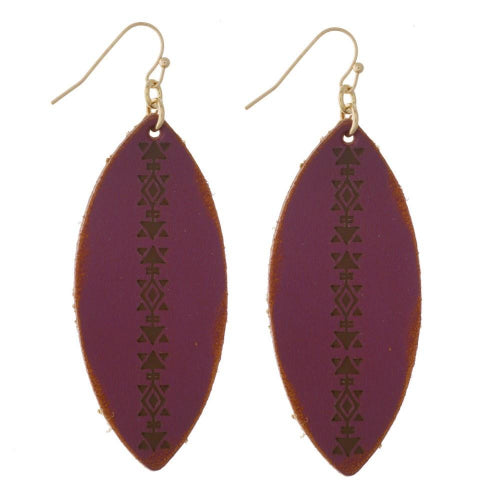 Faux Leather Feather Shape Earrings Wine