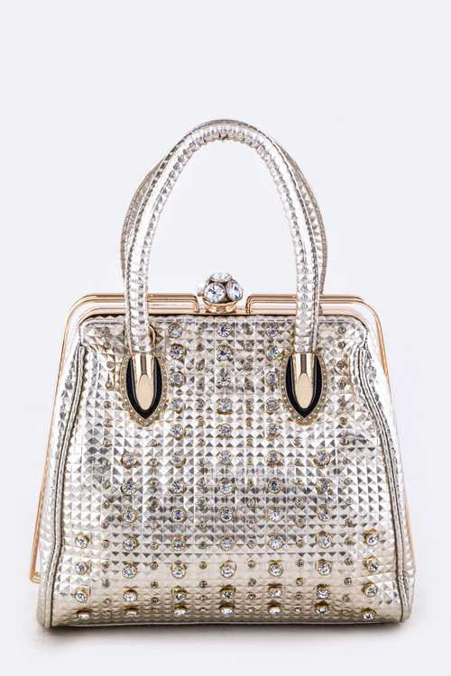 Pyramid Embossed Mix Studs Bag Gold