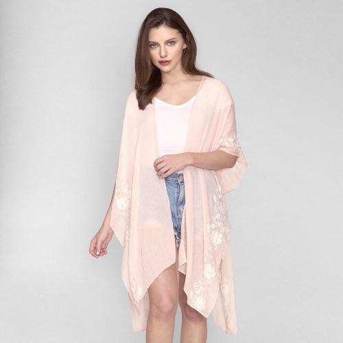 Short Sleeve Kimono with Floral Embroidery and Pearl Accent Pink