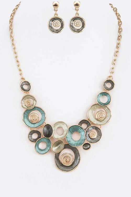 Enamel Statement Necklace Set