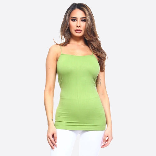 Seamless Tank Top with Spaghetti Straps Apple Green