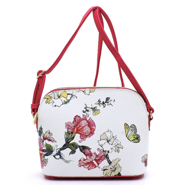 Flower Printed Dome Crossbody Fuchsia