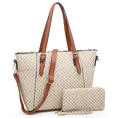 Monogrammed 2-in-1 Shopper & Wallet Set Taupe/Brown