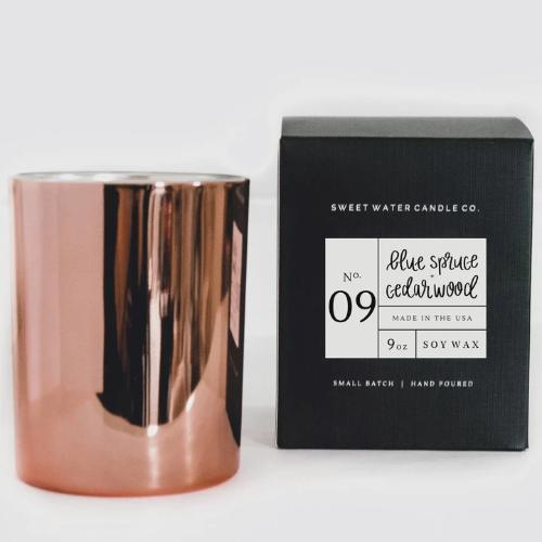 Blue Spruce + Cedarwood Soy Candle | Rose Gold
