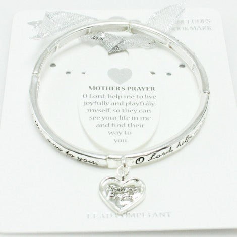 Mother's Prayer Stretch Bracelet w/ Bookmark Antique Silver