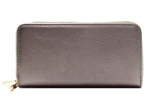 Faux Leather Solid Color Double Zip Wallet