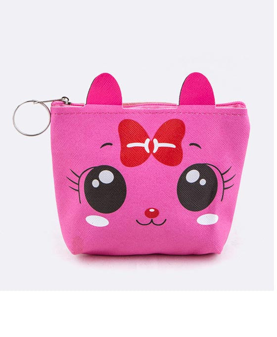 Comic Kitty Coin Purse Hot Pink