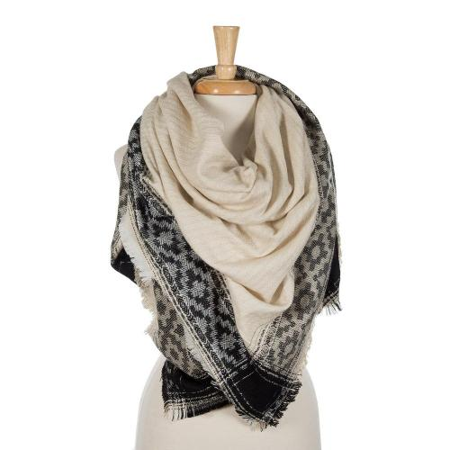 Black and ivory blanket scarf with frayed edges