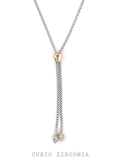 Fashion Lariat Necklace Two Tone