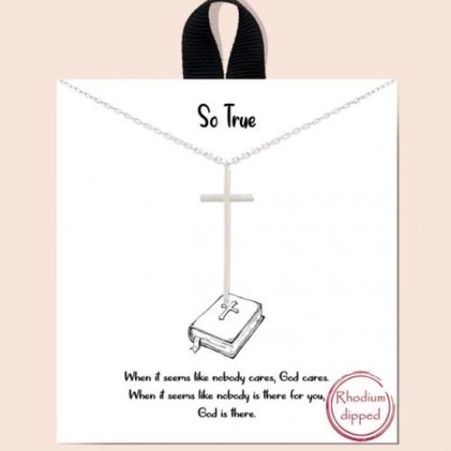 """So True"" Cross Necklace Silver"