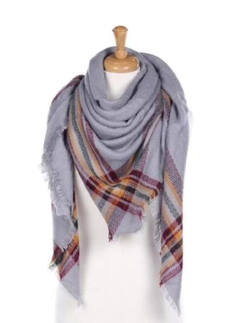 Patterned Blanket Scarf with Frayed Edge Grey