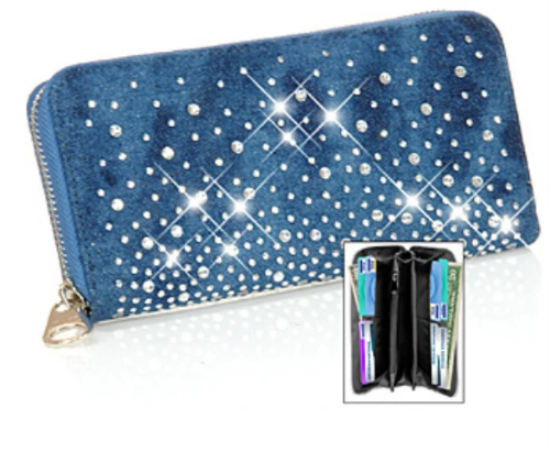 Triple Compartment Bling Accordion Wallet