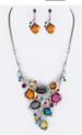 Crystal Flowers Statement Necklace Set Silver/Multi