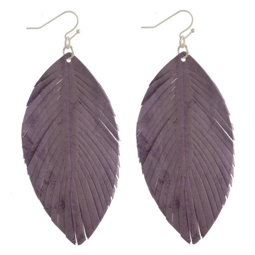 Leather Feather Earrings Lavender