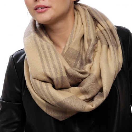 Two Tone Check Pattern Infinity Scarf Beige