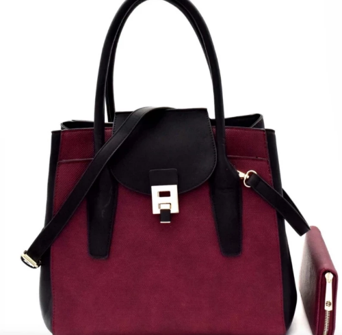 Two-Tone Structured Wing Satchel Purple