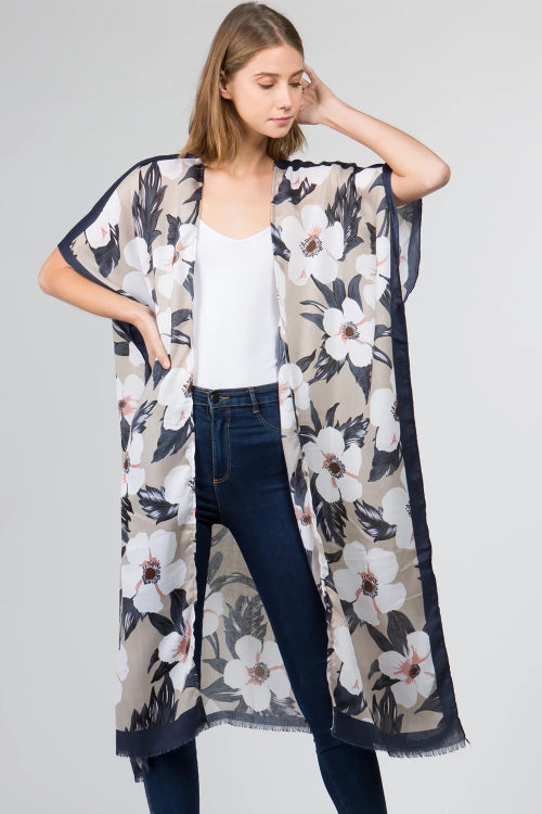 Big Flower Long Kimono Blue